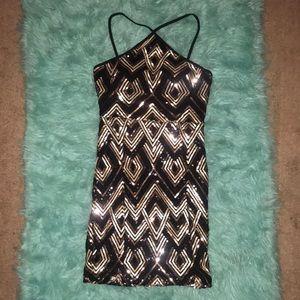 NWT Midnight Doll black & gold sequins mini dress
